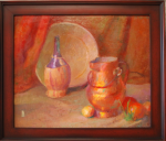 Still-life with Copper Urn and Chianti bottle