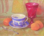 Blue Willow, Apricots and Red Glass